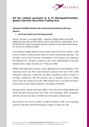 Ad hoc release pursuant to § 15 Wertpapierhandels - Advanced ...
