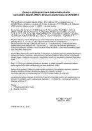Zpráva o přijímacím řízení pro doktorské studium na Hudební fakultě ...