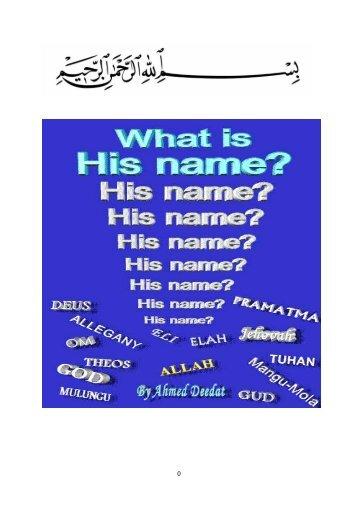 Wie ist Sein Name? Originaltitel - Way to Allah