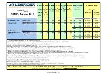 TARIF - Sommer 2012