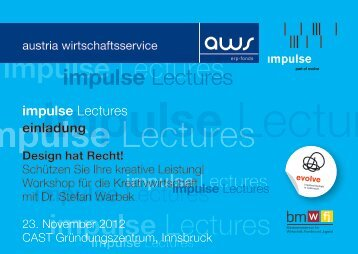 Einladung impulse Lecture Design hat Recht - impulse/aws
