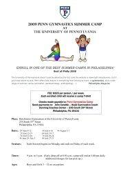 2009 penn gymnastics summer camp - University of Penn Athletics