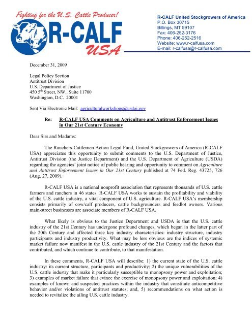 R-CALF USA's Comments to the Department of Justice regarding ...