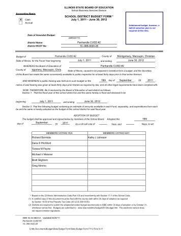 School District Budget Form 2009-2010 - Panhandle CUSD #2