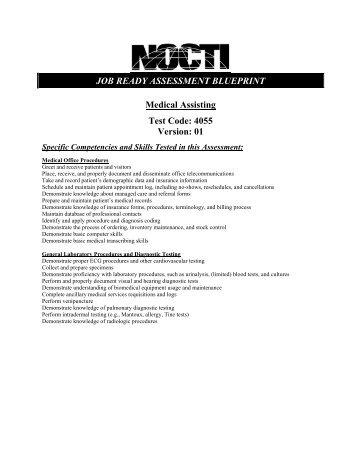 Job ready assessment blueprint medical assisting nocti medical assisting 4055 nocti malvernweather Choice Image