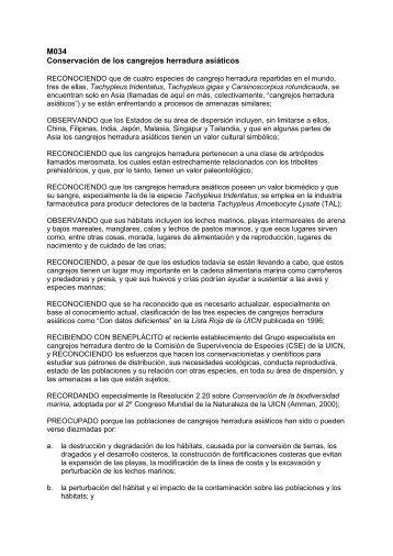 M034 Conservación de los cangrejos herradura ... - IUCN Portals