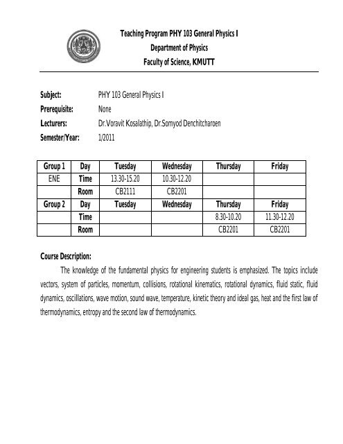Teaching plane PHY 103 General Physics I updated 1 pdf