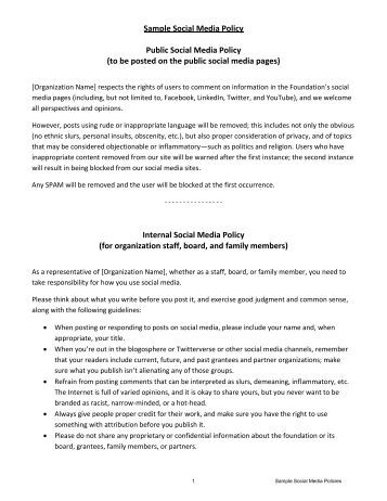 social media policy essay Essay about writing a social media policy writing a social media policy writing a social media policy can be like walking on eggshells it is a potentially overwhelming process with many things to take into consideration, from legal matters to employees' perceptions of privacy.