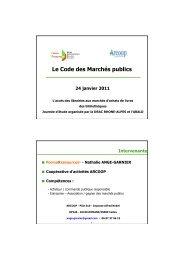 Document de synthèse sur le code des marchés publics ... - Arald