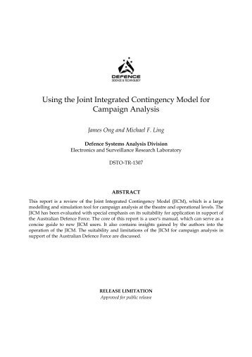 Using the Joint Integrated Contingency Model for Campaign Analysis