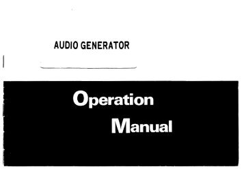 Service and Instruction Manual - ALFA Electronics