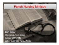 Parish Nursing Ministry - Anglican Diocese of Fredericton
