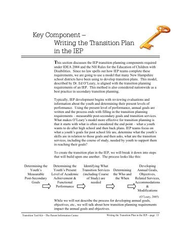 Writing the Transition Plan - Parent Information Center on Special ...