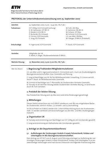 Sitzung 4/07 vom 25.09.07 - Departement Bau, Umwelt und Geomatik