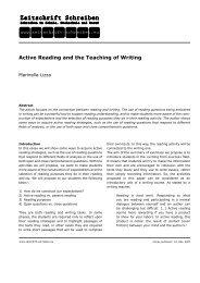 Active Reading and the Teaching of Writing - Zeitschrift Schreiben