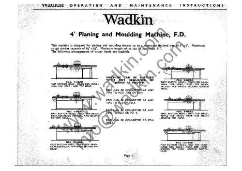 Wadkin Fd 4 Planer Moulder Manual And Parts List