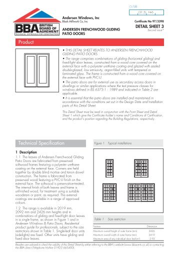 Andersen Frenchwood Gliding Patio Doors   British Board Of Agrement