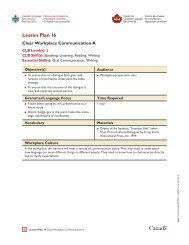 Lesson Plan 16 - Canadian Language Benchmarks' Essential Skills ...