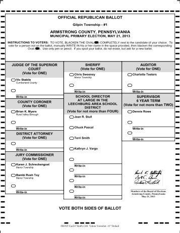 Rep Ballot - Armstrong County
