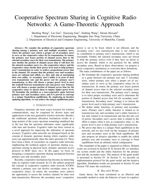 Cooperative Spectrum Sharing in Cognitive Radio Networks: A ...
