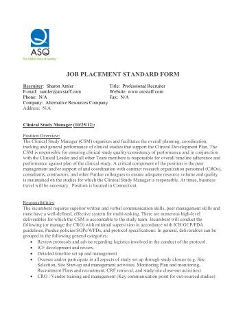 Job Placement Standard Form Asq Long Island Section