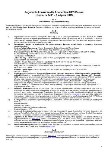 """""""Konkurs 3x3"""" – 1 edycja KIDS - UPC Polska"""