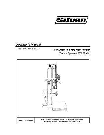Operator's Manual EZY-SPLIT LOG SPLITTER - Silvan Australia