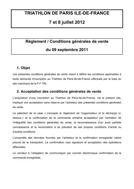 TRIATHLON DE PARIS ILE-DE-FRANCE 7 et 8 juillet 2012