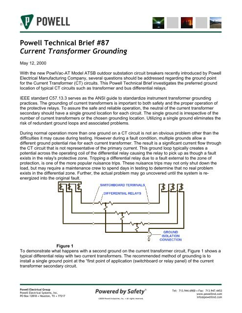 Powell Technical Brief 87 Current Transformer Grounding