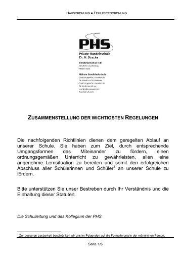 Hausordnung und interne Schulordnung - PHS