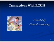 Transactions with RCUH – General Accounting