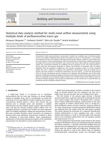 Statistical data analysis method for multi-zonal airflow measurement ...