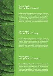 Bioenergetik Energie durch Übungen Bioenergetik ... - Anna Maurer