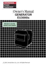 Honda EU3000is Manual - Hollywood Studio Rentals