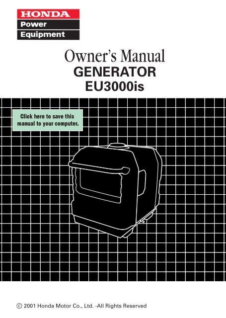 honda eu3000i generator manual