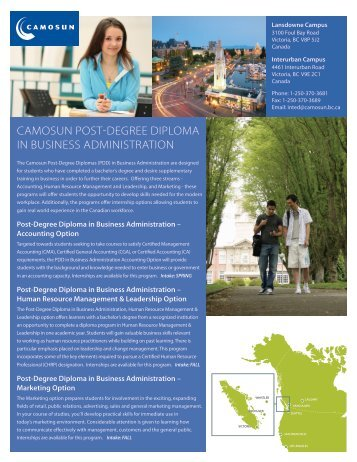 camosun post-degree diploma in business administration
