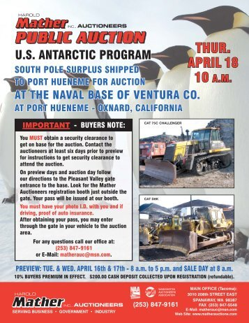 THUR. APRIL 18 - Mather Auctioneers Inc