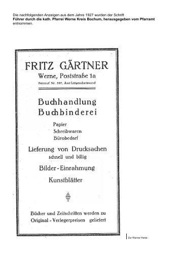 Aus der Schrift Führer durch die kath. Pfarrei Werne ... - werner linie