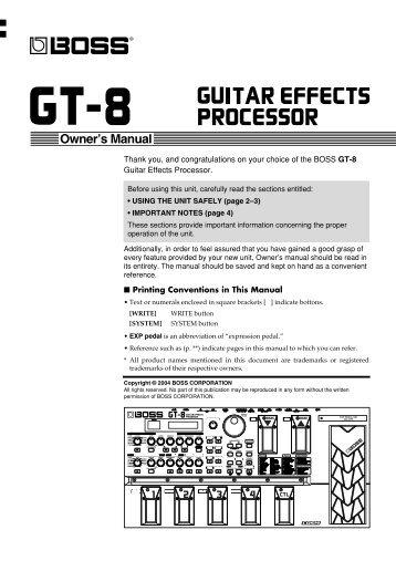 GT-8 Manual (PDF) - Roland UK
