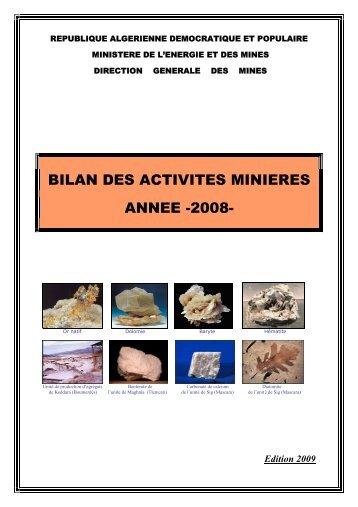 Bilan des Activités Minières, année 2008 - Ministère de l'énergie et ...