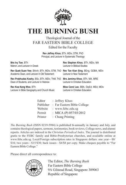THE BURNING BUSH Theologi