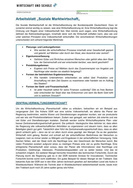 arbeitsblatt soziale marktwirtschaft wirtschaft und schule. Black Bedroom Furniture Sets. Home Design Ideas