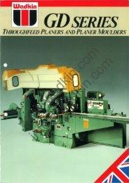 Wadkin GD Planer Moulder Literature (green)