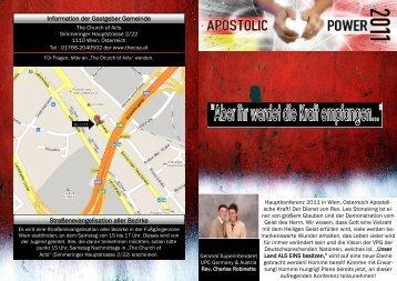 Information der Gastgeber Gemeinde Straßenevangelisation aller ...