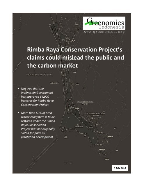 Rimba Raya Conservation Project's claims could mislead the public ...