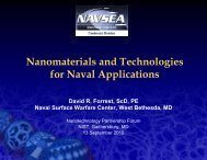 N t i l d T h l i Nanomaterials and Technologies for Naval ...