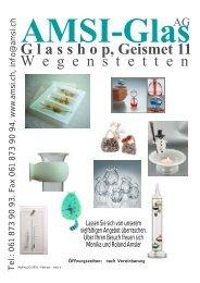 G l a s s h o p, Geismet 11 - AMSI Glas AG, Glasapparate, Labor