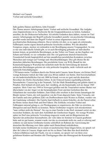 Michael von Cranach Verlust und seelische Gesundheit Sehr ...
