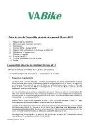 I. Ordre du jour de l'assemblée générale du mercredi 20 ... - VA Bike