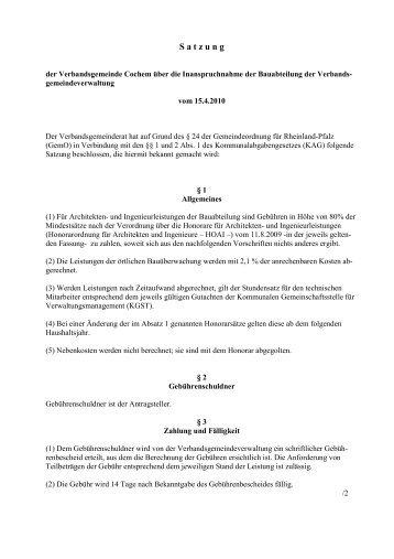 Satzung über Inanspruchnahme Bauabteilung - Verbandsgemeinde ...